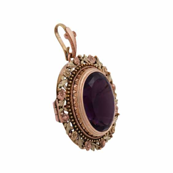 Pendant/brooch with oval Amethyst of approx 22 ct - photo 2