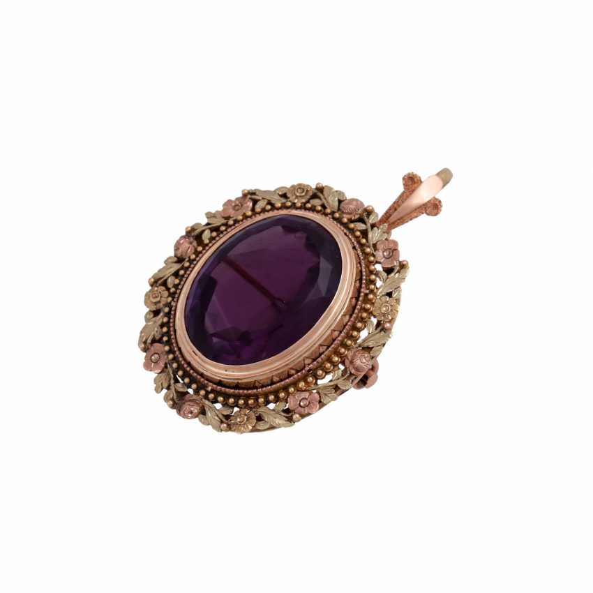 Pendant/brooch with oval Amethyst of approx 22 ct - photo 4