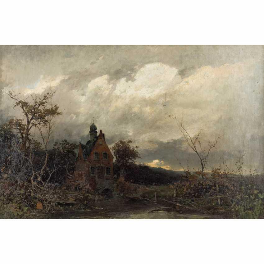 """SCHULTZE, CARL (Maler 19. Jahrhundert), """"Romantische Landschaft mit kleinem Schloss"""", - Foto 1"""