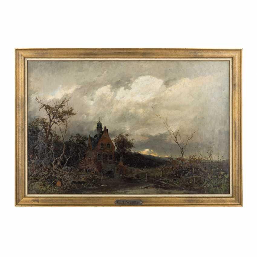 """SCHULTZE, CARL (Maler 19. Jahrhundert), """"Romantische Landschaft mit kleinem Schloss"""", - Foto 2"""