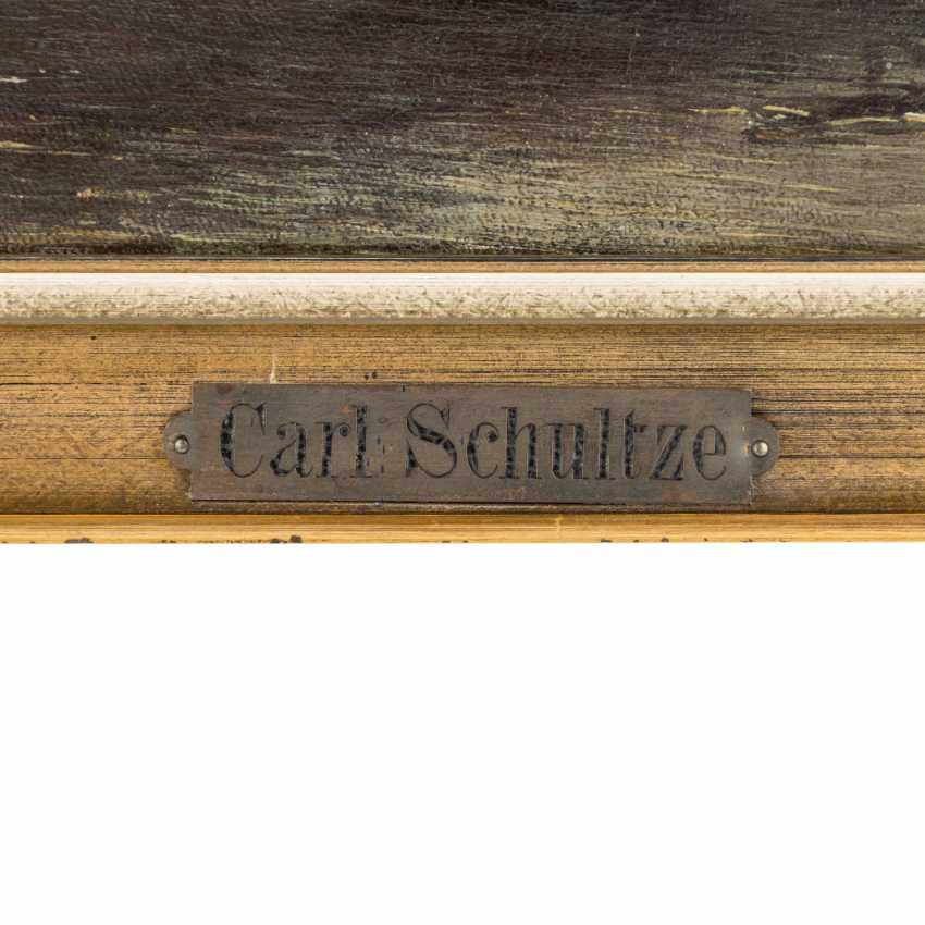 """SCHULTZE, CARL (Maler 19. Jahrhundert), """"Romantische Landschaft mit kleinem Schloss"""", - Foto 3"""