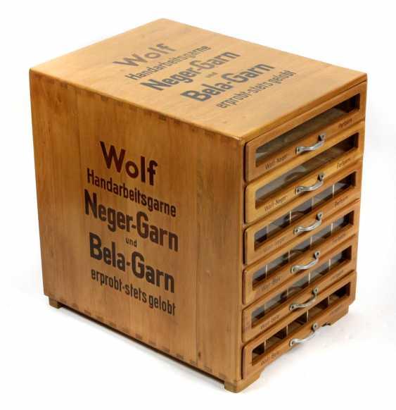 Wolf yarn sale display Cabinet 1920s - photo 1