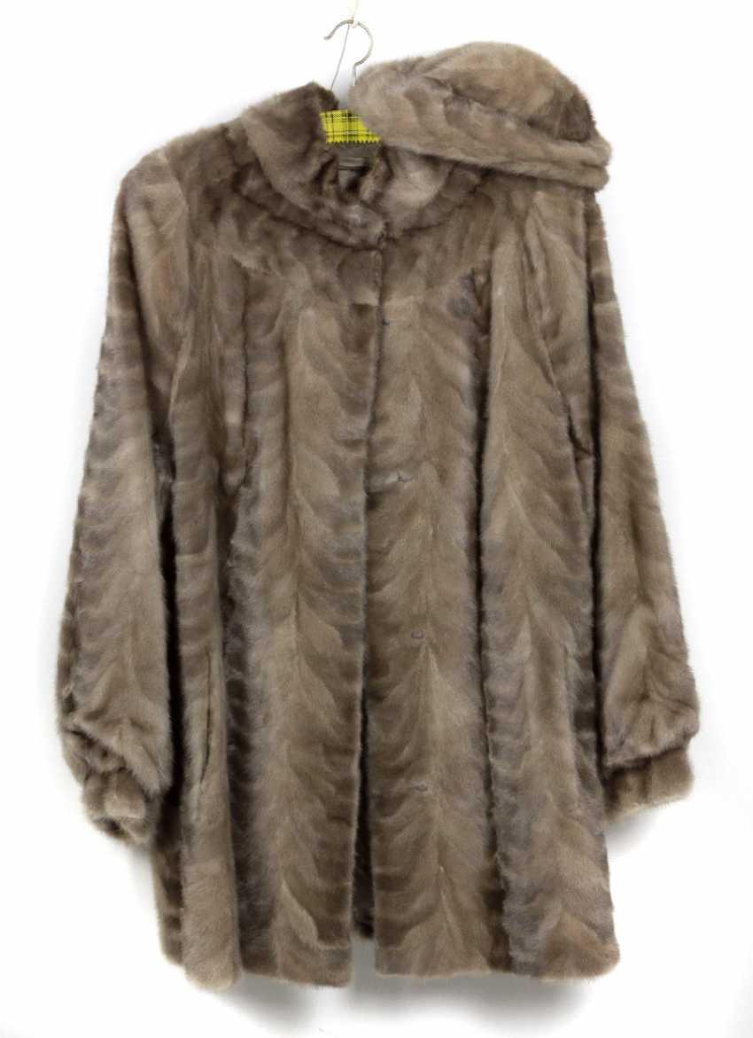 Mink fur jacket with cap - photo 1