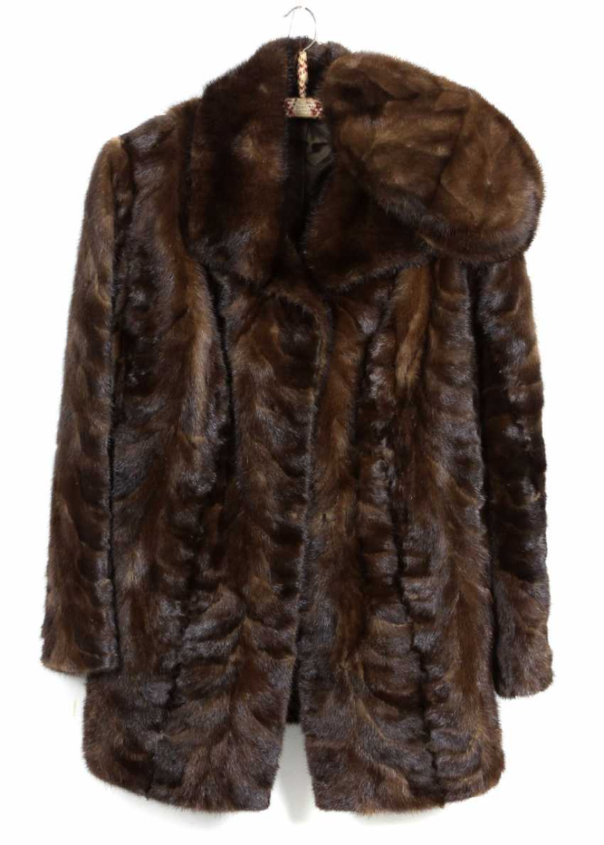 Mink fur jacket with cap - photo 1