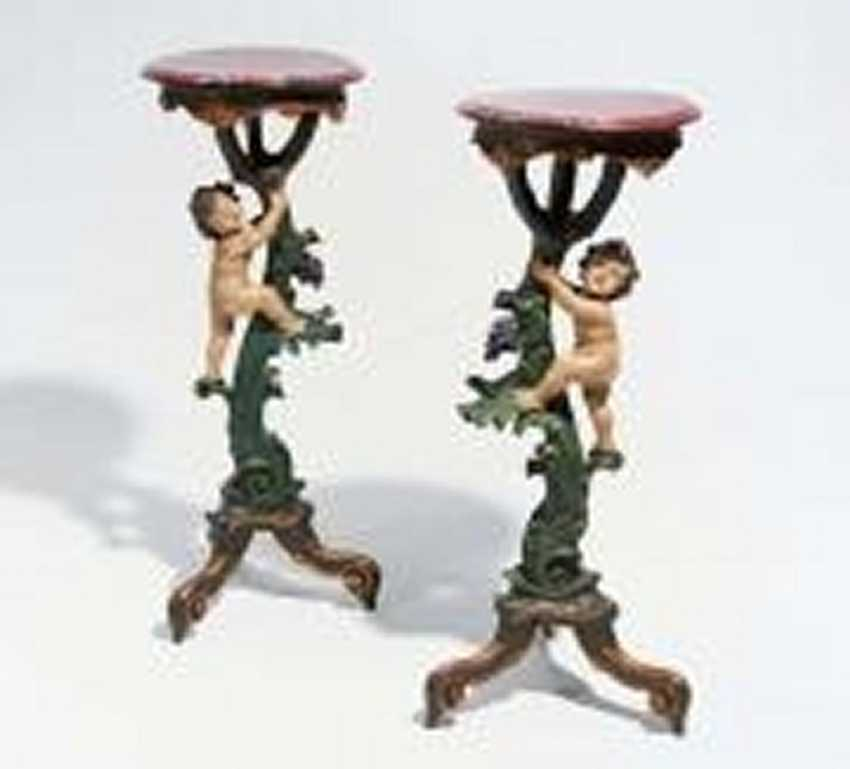 Pair of Gueridons with Puttenzier style Rococo - photo 2
