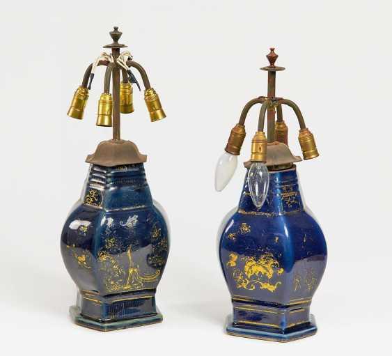 Pair of hexagonal vases with bird decor - photo 1