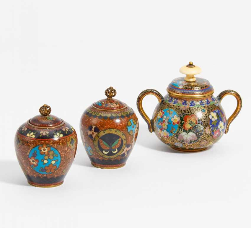 Sugar bowl and two small lid vases - photo 1