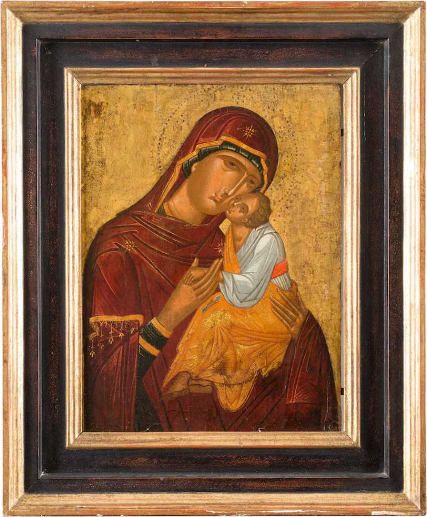 VERY FINE ICON OF THE MOTHER OF GOD ELEUSA (GLYKOPHILOUSA) - photo 1