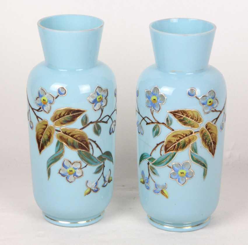 Vase pair with enamel painting, around 1900 - photo 1
