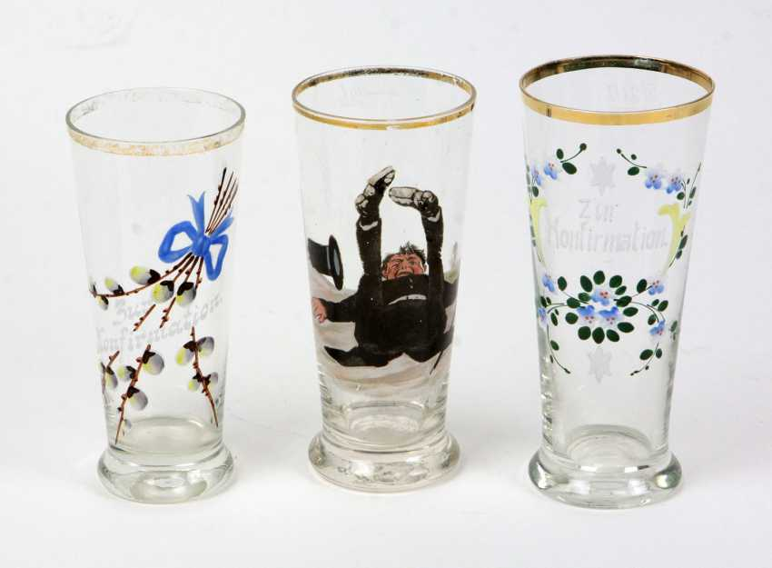 3 souvenir glasses circa 1920 - photo 1