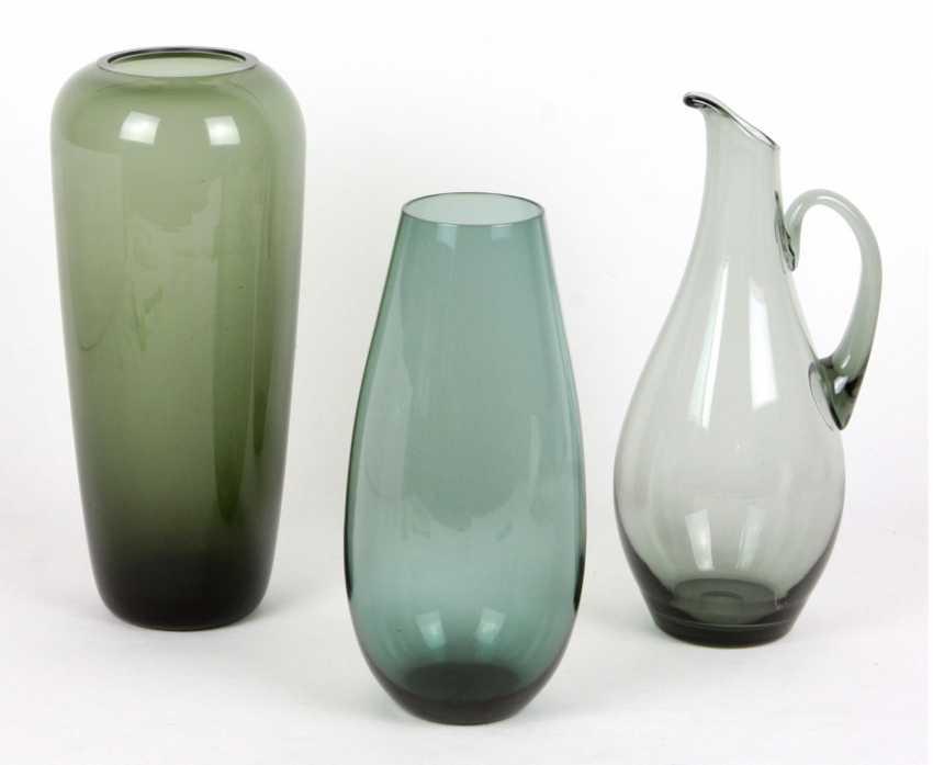 Smoke glass vases & pitcher - photo 1