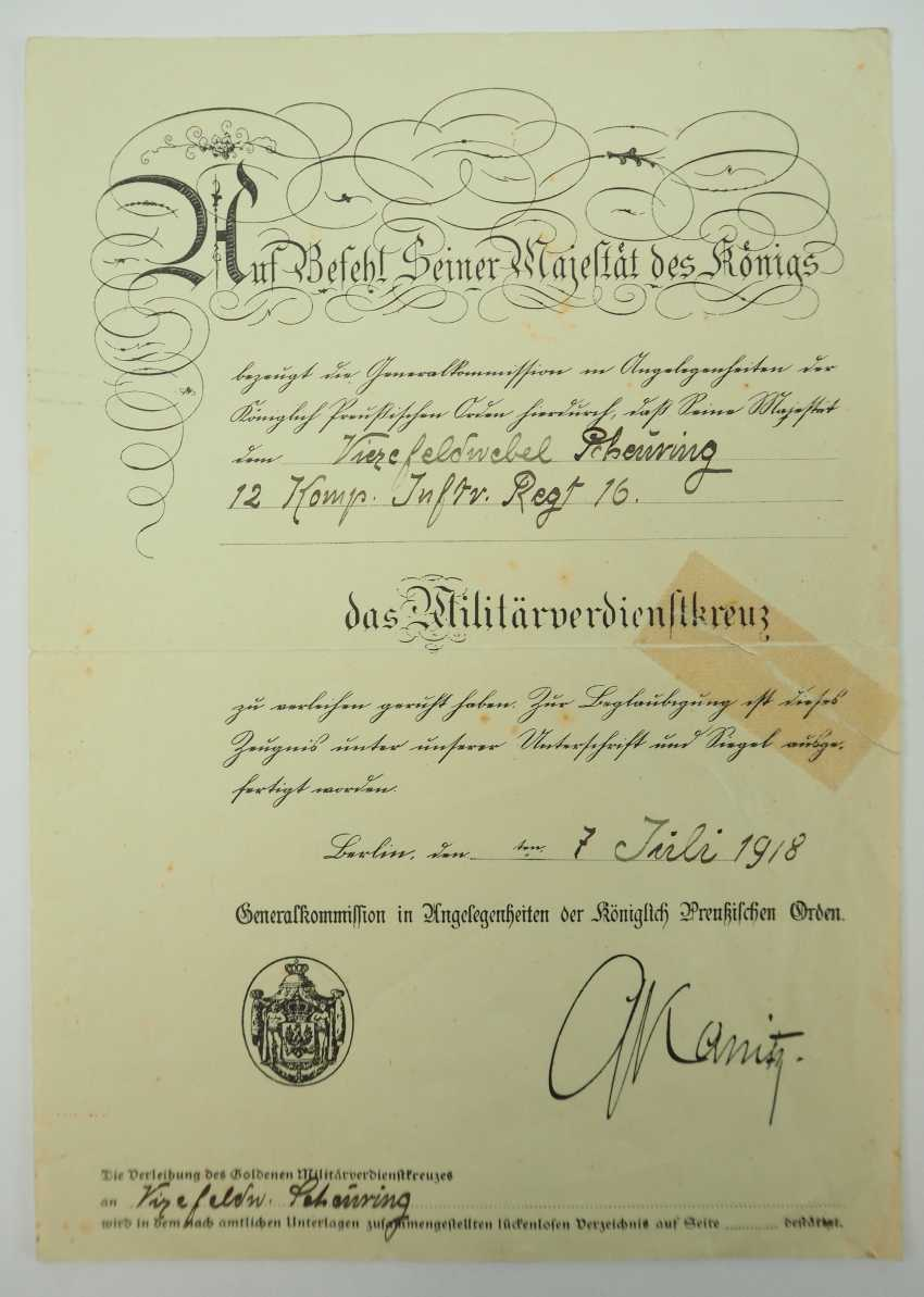 Prussia: property of staff Sergeant Hermann Scheuring, 12./ Infantry-Regiment 16 - winner of the military cross of merit. - photo 4