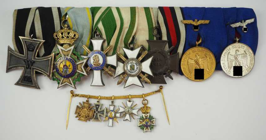 Saxony: Great medalbar with 7 awards of a brave front officer. - photo 1