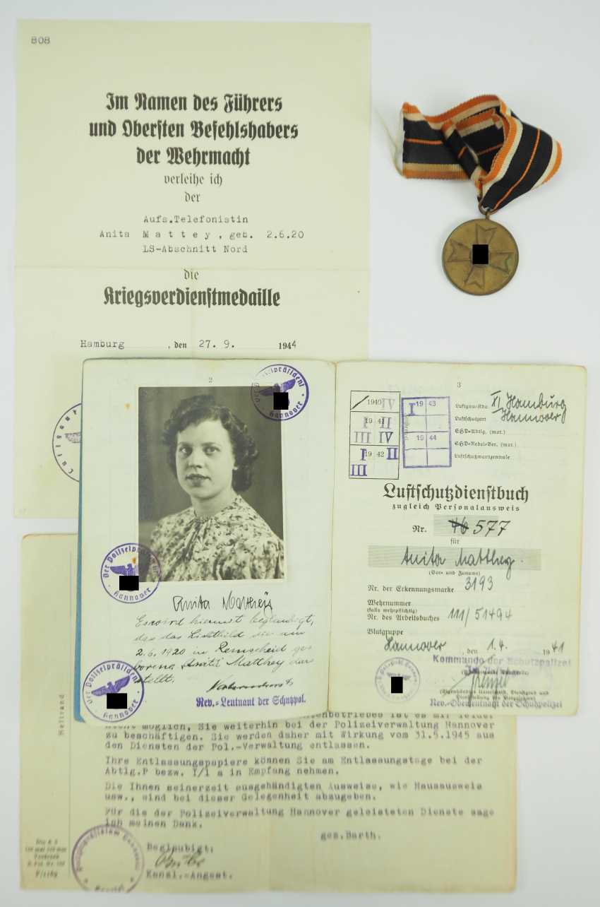 War merit medal, with certificate for The.-Telephonist, LS-section North. - photo 1