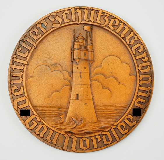 Badge of the German shooters Association, Gau, North sea, championship, mili. Stop, 1. Place in 1941. - photo 1
