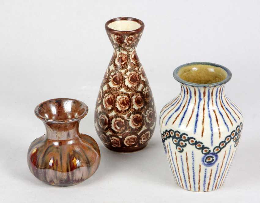 3 Ceramic Vases, Bolesławiec - photo 1