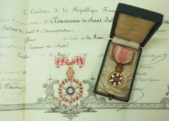 Brazil: Imperial roses-order, officers cross, in a case with certificate for the President of the Board of Directors in Paris. - photo 1
