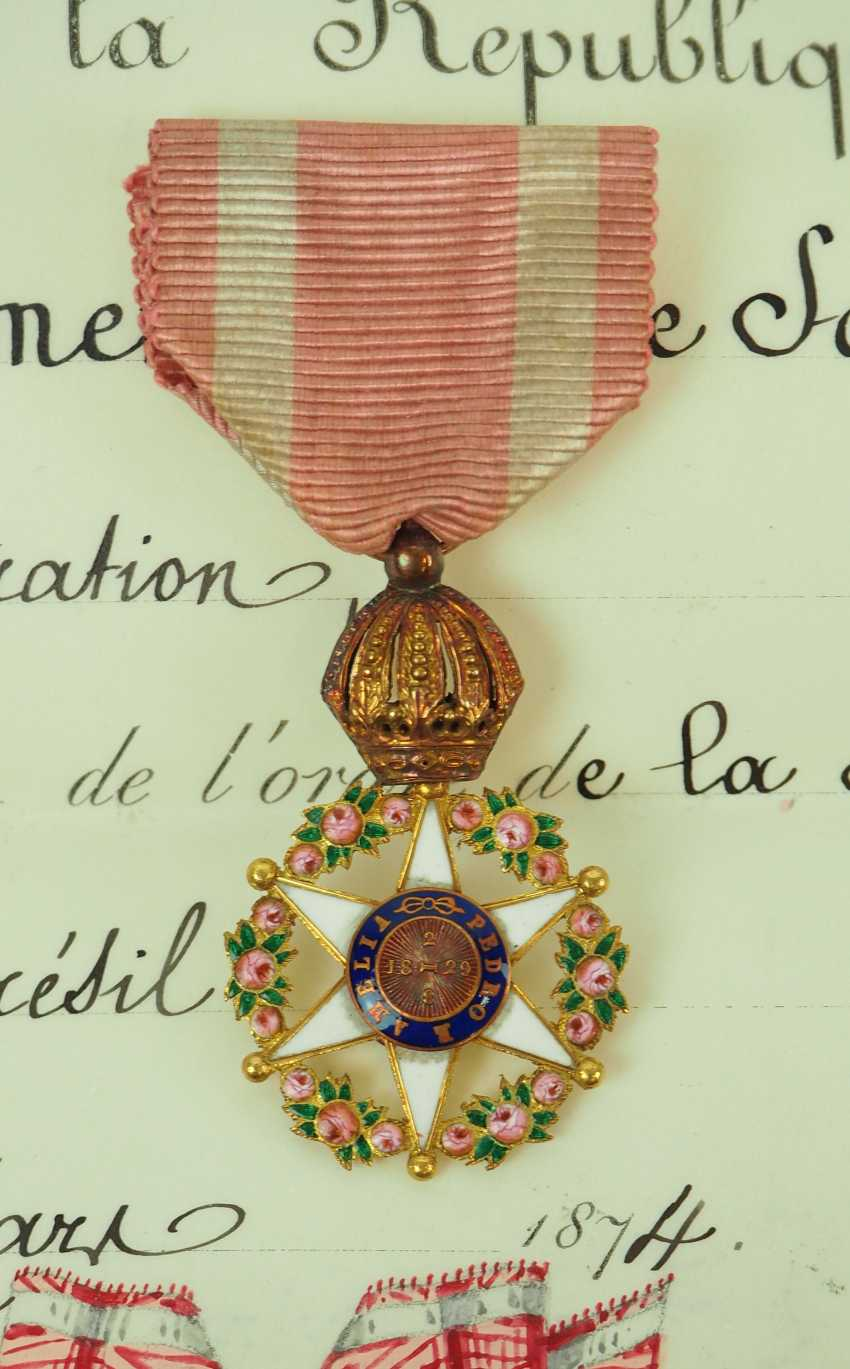 Brazil: Imperial roses-order, officers cross, in a case with certificate for the President of the Board of Directors in Paris. - photo 2