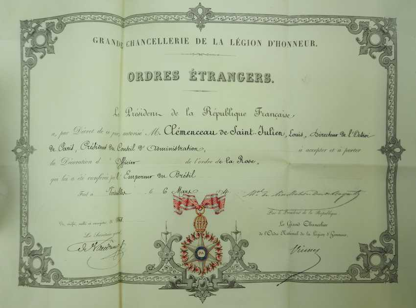 Brazil: Imperial roses-order, officers cross, in a case with certificate for the President of the Board of Directors in Paris. - photo 3