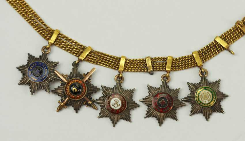 Russia: miniature chain with 5 breast stars. - photo 1