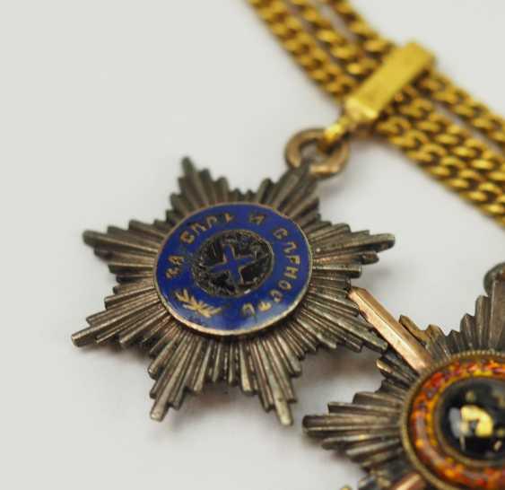Russia: miniature chain with 5 breast stars. - photo 2