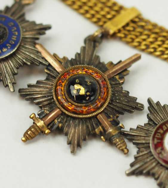 Russia: miniature chain with 5 breast stars. - photo 3