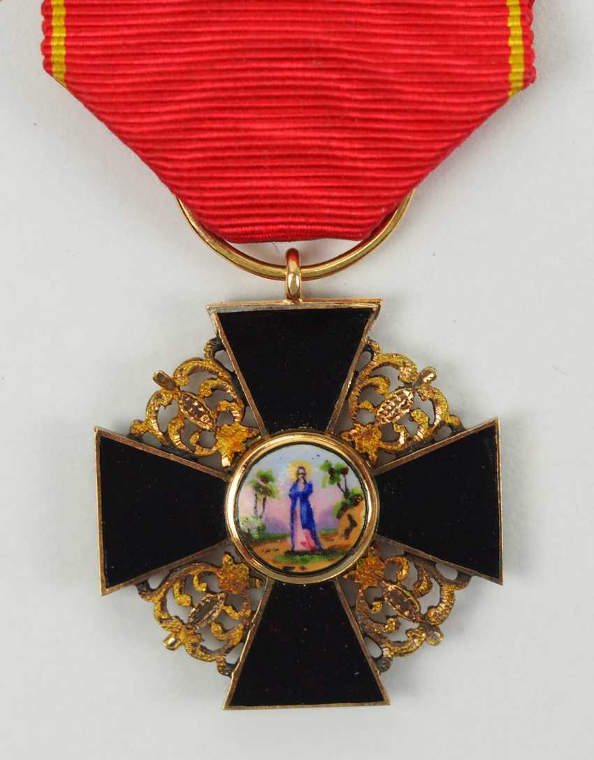 Russia: order of St. Anna, 2. Model (1810-1917), semi-miniature with black enamel. - photo 1