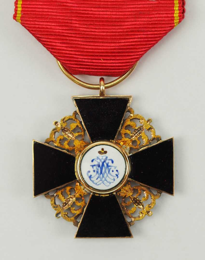 Russia: order of St. Anna, 2. Model (1810-1917), semi-miniature with black enamel. - photo 3