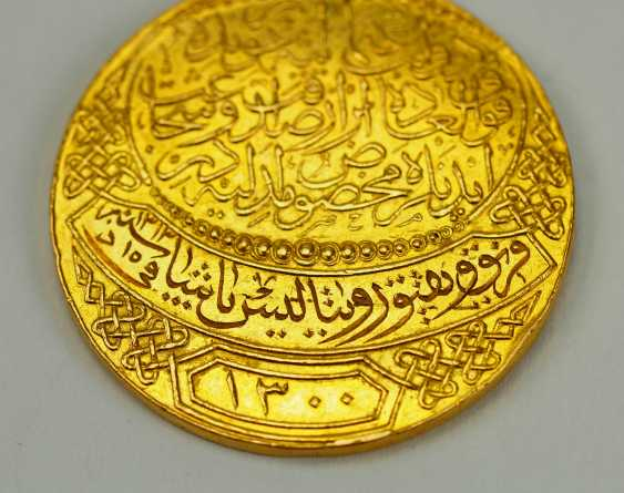 Turkey: Imtiyaz-medal, in Gold, with swords and date clasp of the Doulat Aouweit. - photo 5