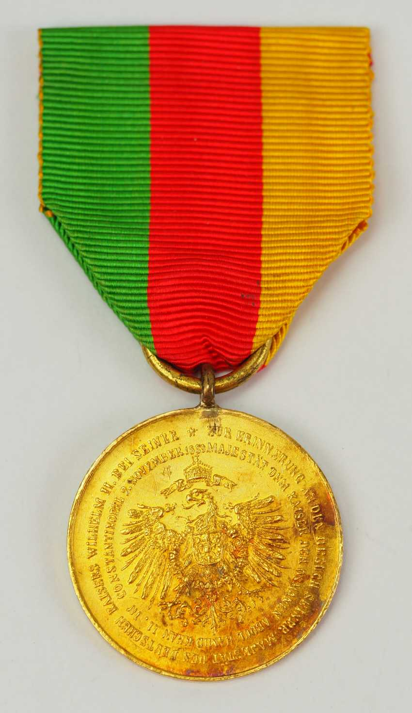 Turkey: medal commemorating the visit of Kaiser Wilhelm II., 1889, in Constantinople, in Gold. - photo 1