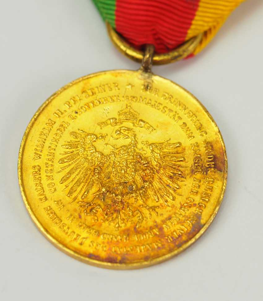 Turkey: medal commemorating the visit of Kaiser Wilhelm II., 1889, in Constantinople, in Gold. - photo 2