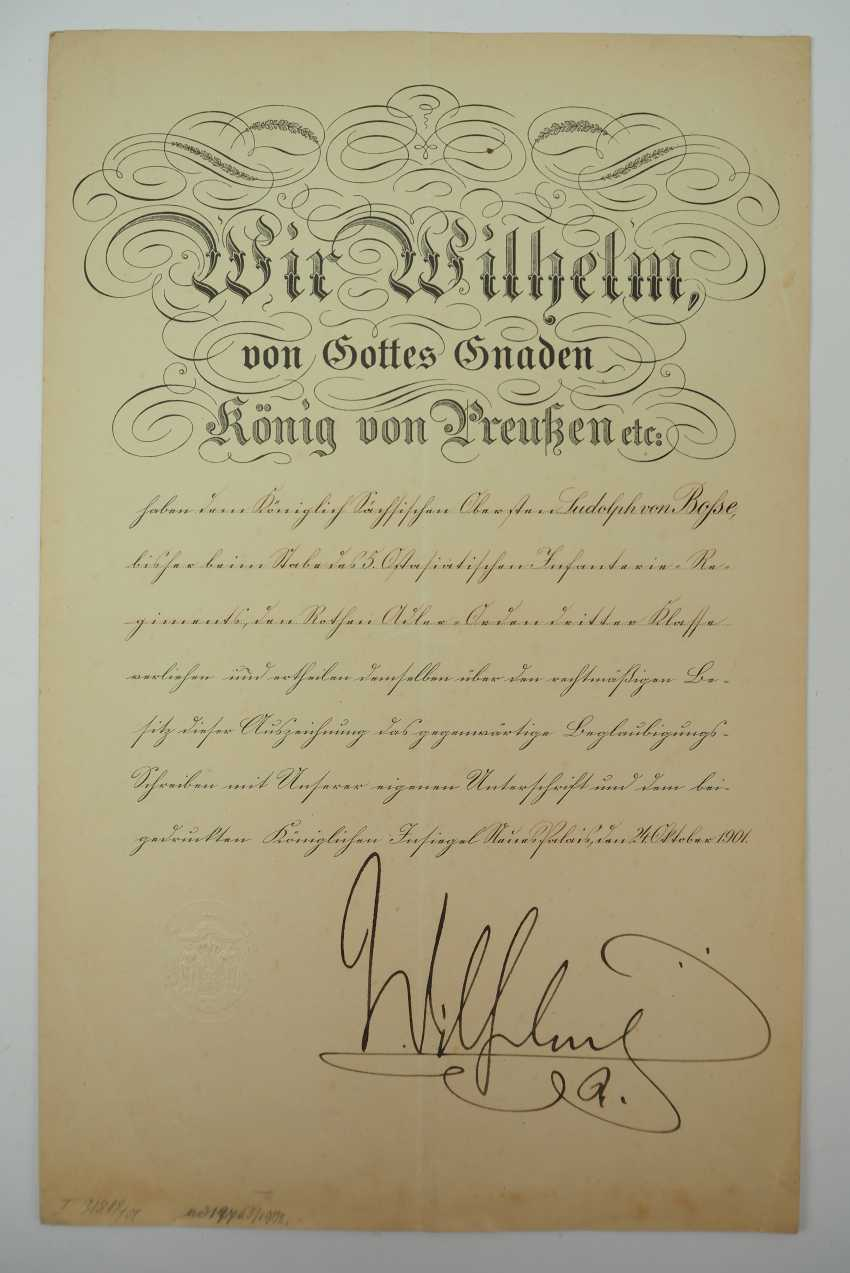 """Saxony: group of certificates of the commander of the 8. Infantry-Regiment """"Prinz Johann Georg"""" No. 107 - 5 Bar. East Asian Infantry Regiment. - photo 2"""