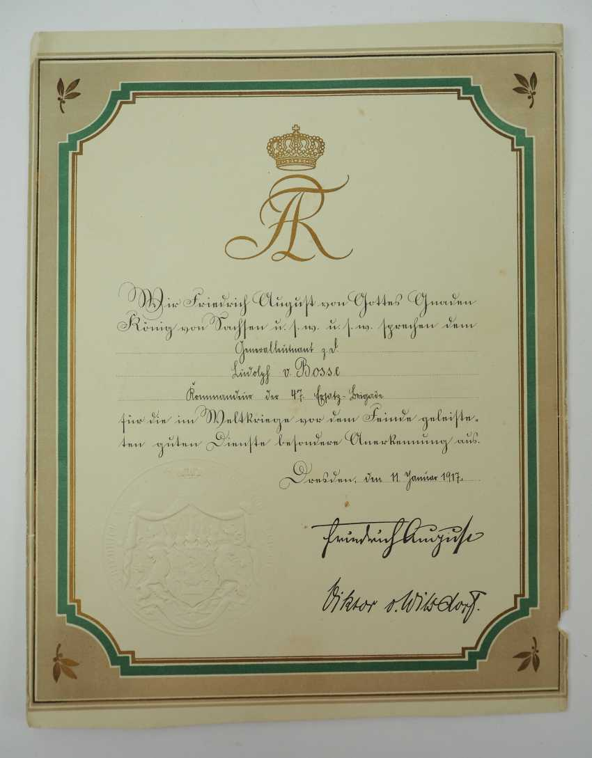 """Saxony: group of certificates of the commander of the 8. Infantry-Regiment """"Prinz Johann Georg"""" No. 107 - 5 Bar. East Asian Infantry Regiment. - photo 5"""