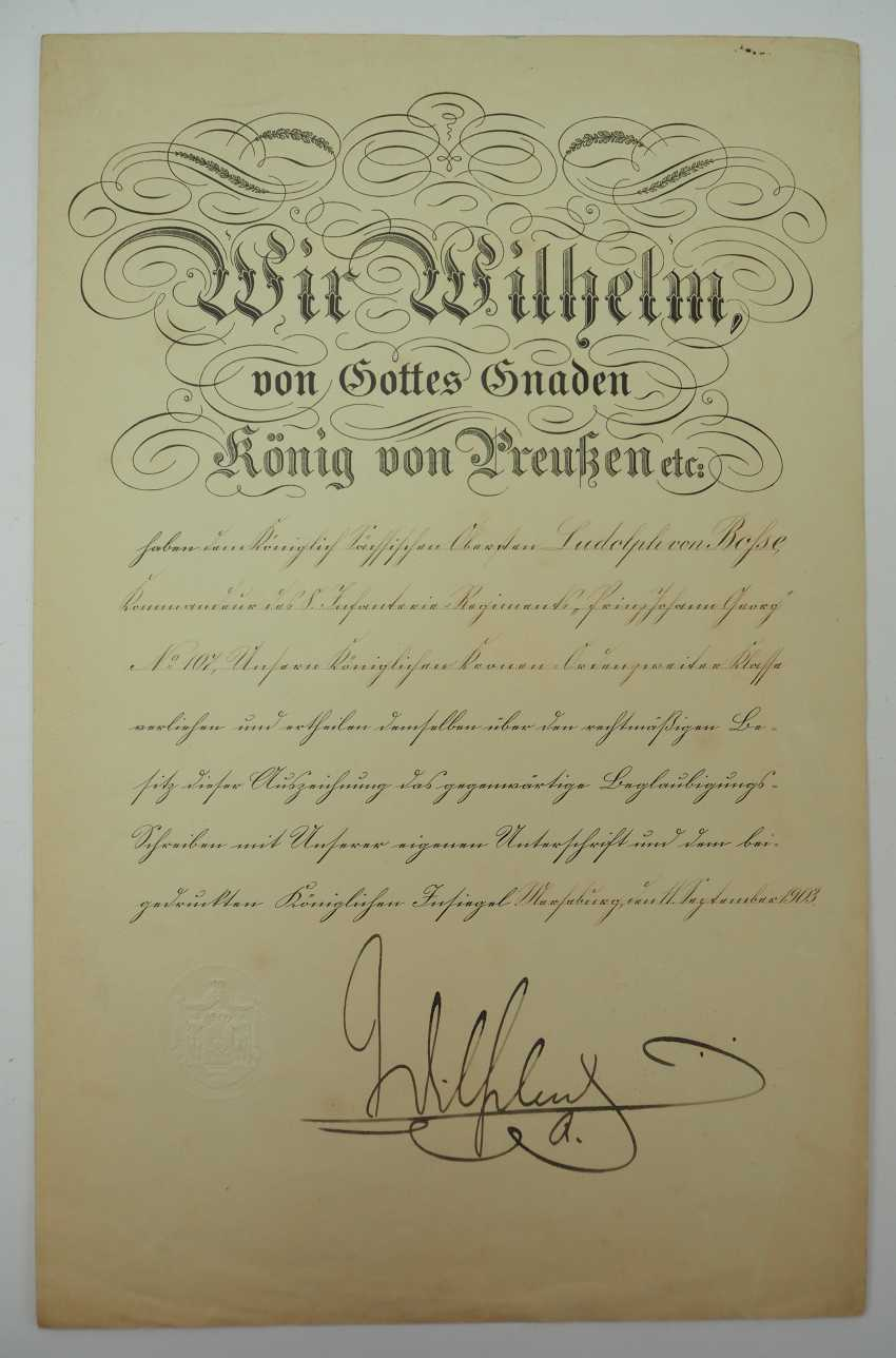 """Saxony: group of certificates of the commander of the 8. Infantry-Regiment """"Prinz Johann Georg"""" No. 107 - 5 Bar. East Asian Infantry Regiment. - photo 8"""