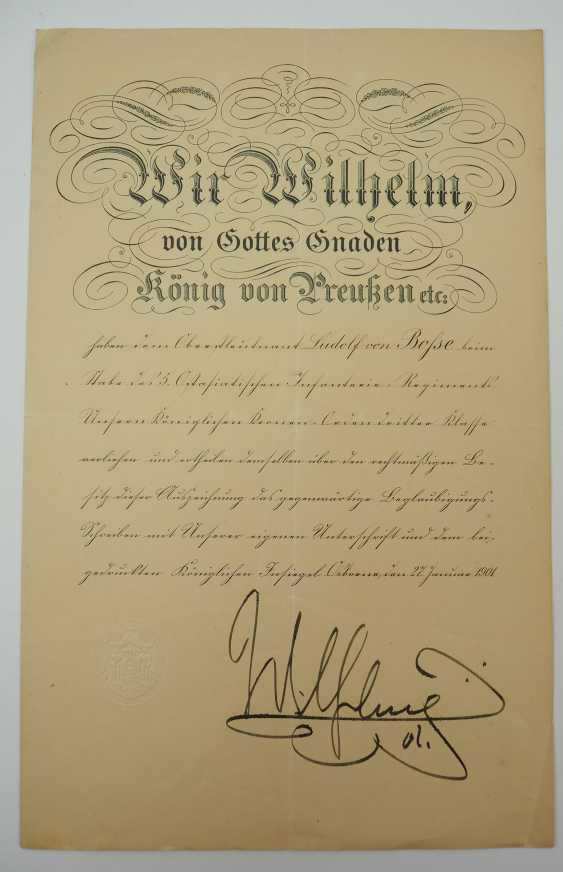 """Saxony: group of certificates of the commander of the 8. Infantry-Regiment """"Prinz Johann Georg"""" No. 107 - 5 Bar. East Asian Infantry Regiment. - photo 9"""