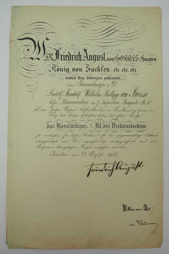 """Saxony: group of certificates of the commander of the 8. Infantry-Regiment """"Prinz Johann Georg"""" No. 107 - 5 Bar. East Asian Infantry Regiment. - photo 11"""