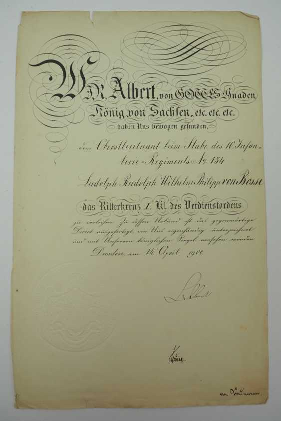 """Saxony: group of certificates of the commander of the 8. Infantry-Regiment """"Prinz Johann Georg"""" No. 107 - 5 Bar. East Asian Infantry Regiment. - photo 13"""