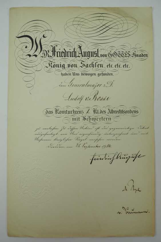 """Saxony: group of certificates of the commander of the 8. Infantry-Regiment """"Prinz Johann Georg"""" No. 107 - 5 Bar. East Asian Infantry Regiment. - photo 14"""