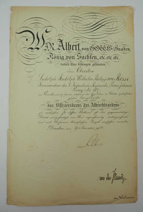 """Saxony: group of certificates of the commander of the 8. Infantry-Regiment """"Prinz Johann Georg"""" No. 107 - 5 Bar. East Asian Infantry Regiment. - photo 15"""