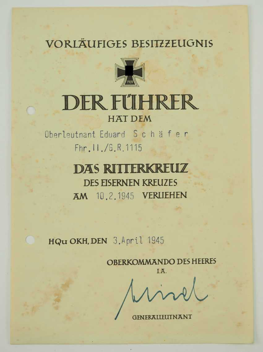 Knight's cross of the Iron cross, a Provisional certificate of Possession for the Lieutenant Eduard Schäfer - leader of the II./ Grenadier-Regiment 1115. - photo 1