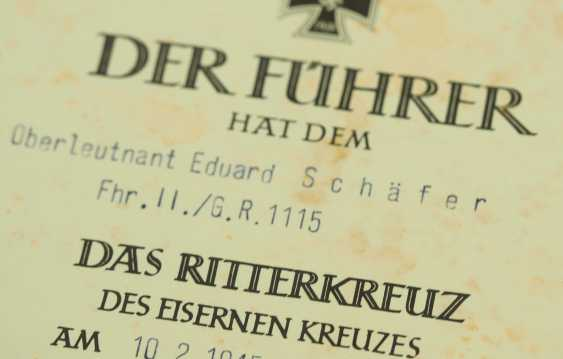 Knight's cross of the Iron cross, a Provisional certificate of Possession for the Lieutenant Eduard Schäfer - leader of the II./ Grenadier-Regiment 1115. - photo 3
