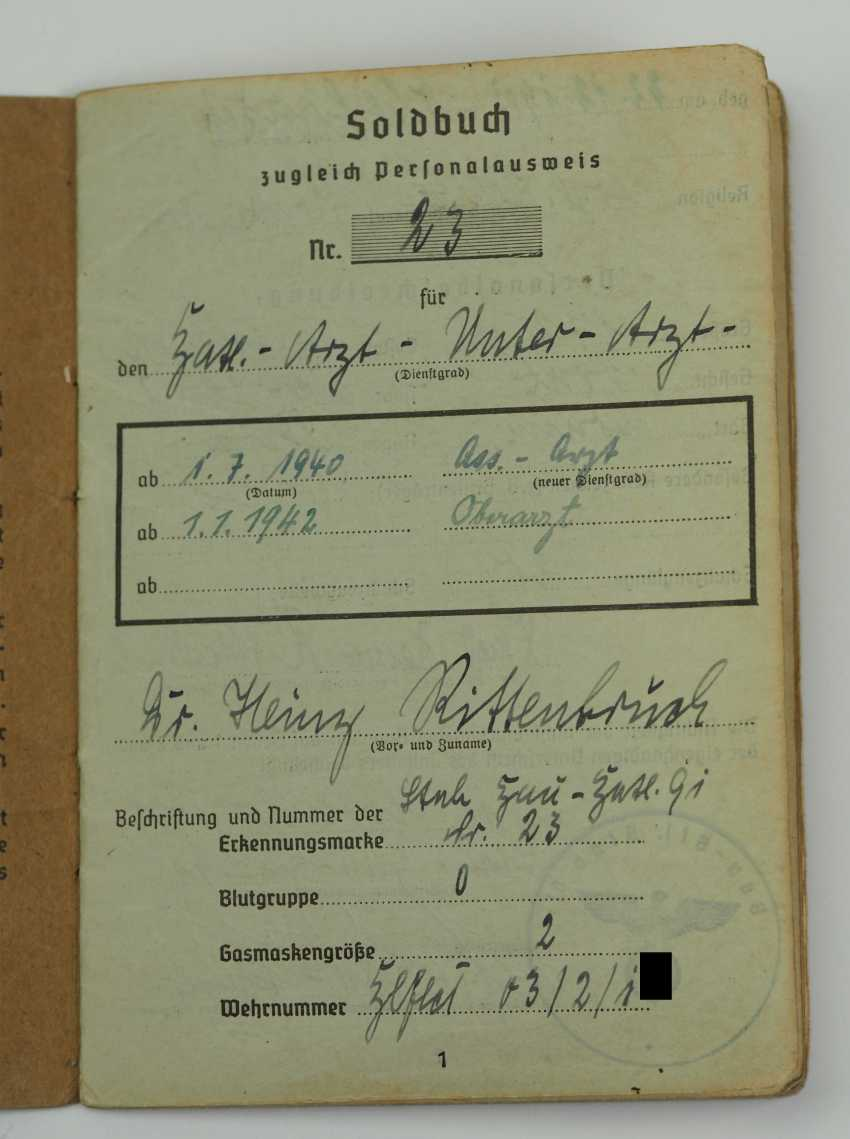 Pay book of a senior physician of the Wehrmacht - Fast Slovak Division. - photo 2