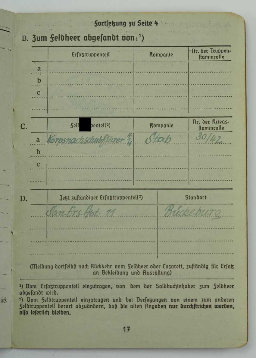 Pay book of a senior physician of the Wehrmacht - Fast Slovak Division. - photo 4
