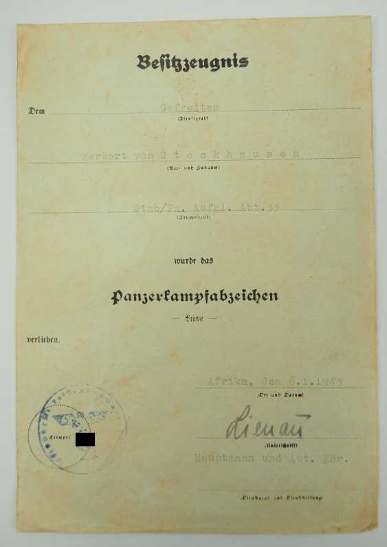 Panzer assault badge document to a corporal in the Stab/ Pz. Labels. Dept. 33 - AFRICA. - photo 1