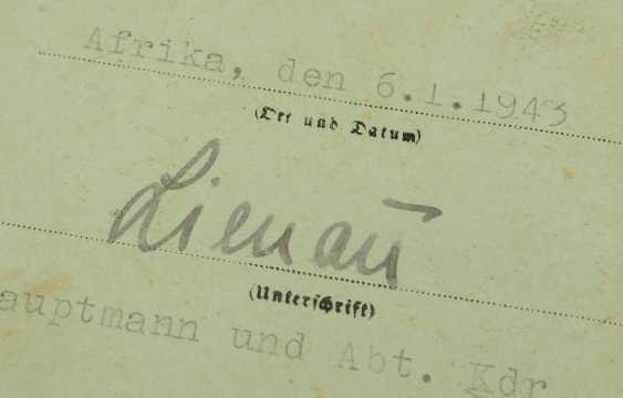 Panzer assault badge document to a corporal in the Stab/ Pz. Labels. Dept. 33 - AFRICA. - photo 2