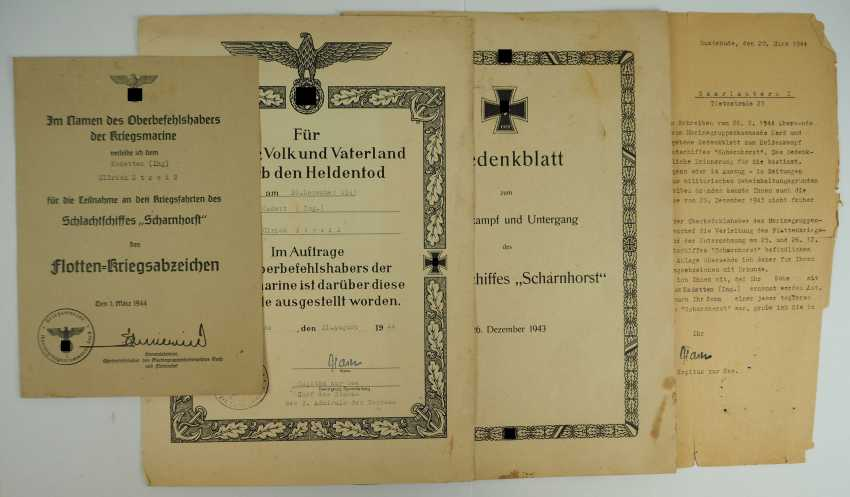 """Certificate group of cadets (Ing.) the fell on the battle ship """"Scharnhorst"""". - photo 1"""
