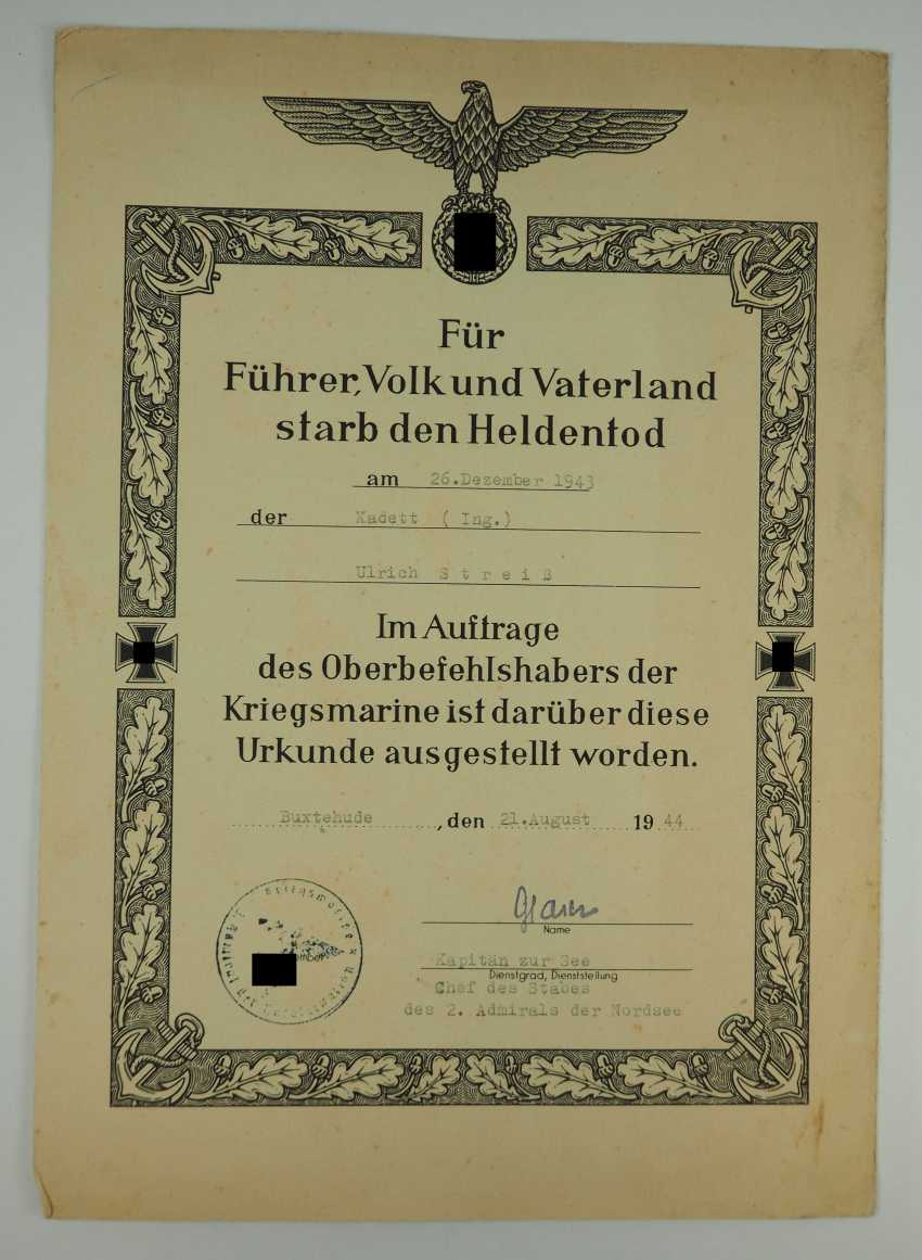 """Certificate group of cadets (Ing.) the fell on the battle ship """"Scharnhorst"""". - photo 3"""
