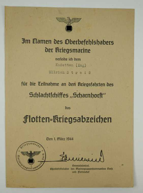 """Certificate group of cadets (Ing.) the fell on the battle ship """"Scharnhorst"""". - photo 4"""