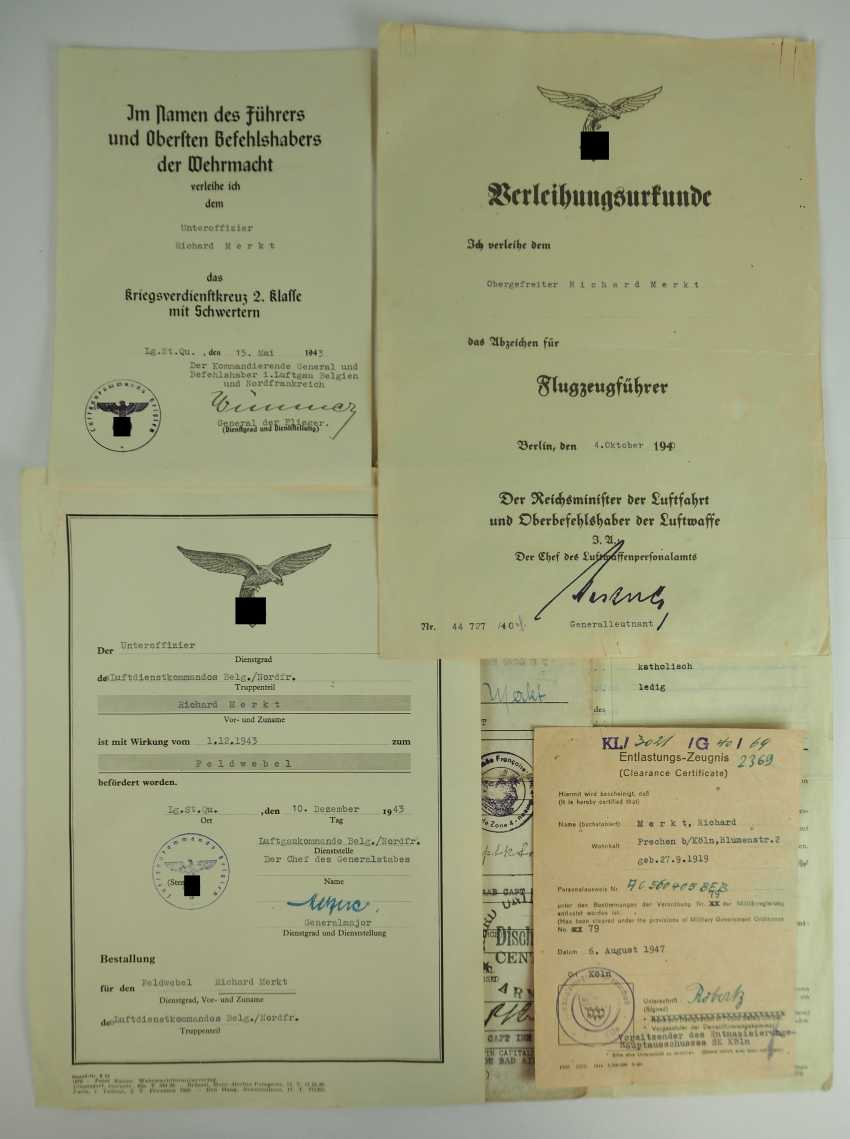 Document group of a non-commissioned officer and Pilot of the air service command in Belgium / Northern France. - photo 1
