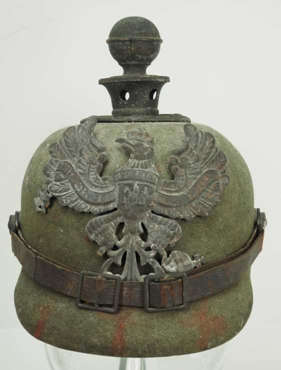 Prussia: field grey replacement Pickelhaube made of felt, for teams of artillery - photo 2